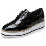 Black Patent Metallic Shiny Leather Lace Up Baroque Platform Oxfords Shoes Sneakers