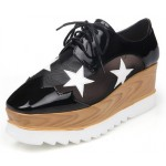 Black Sheer Stars Lace Up Platforms Wedges Oxfords Shoes