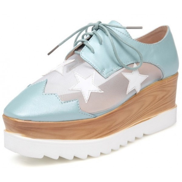 Blue Sheer Stars Lace Up Platforms Wedges Oxfords Shoes