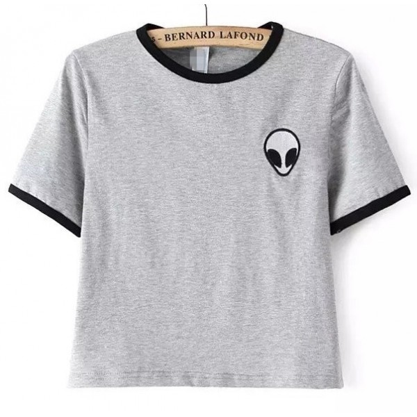 Grey Alien Embroidery Cropped Short Sleeves T Shirt Top