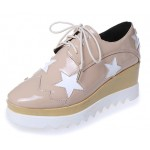 Khaki Brown Patent Leather Stars Lace Up Platforms Wedges Oxfords Shoes