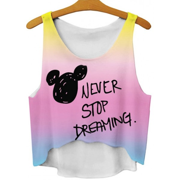 Pink Rainbow Never Stop Dreaming Cropped Sleeveless T Shirt Cami Tank Top