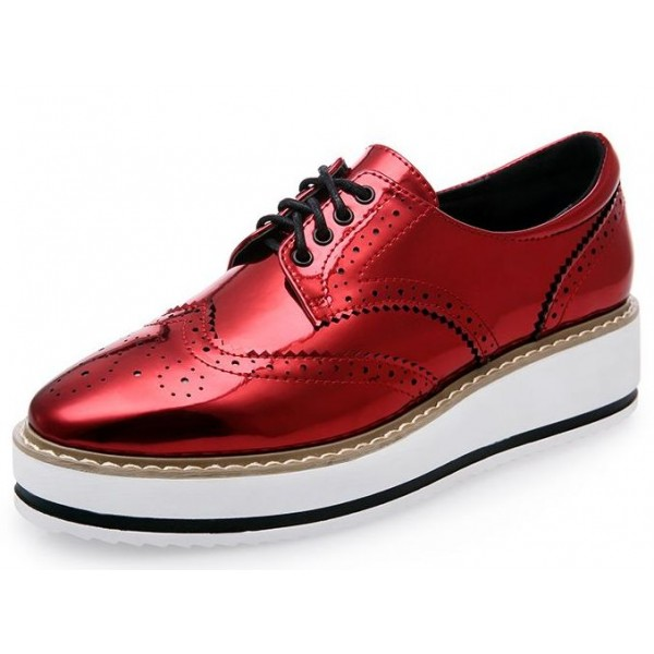 Red Patent Metallic Shiny Leather Lace Up Baroque Platform Oxfords Shoes Sneakers
