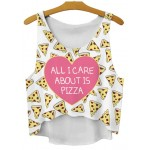 White Heart All I Care About is Pizza Cropped Sleeveless T Shirt Cami Tank Top