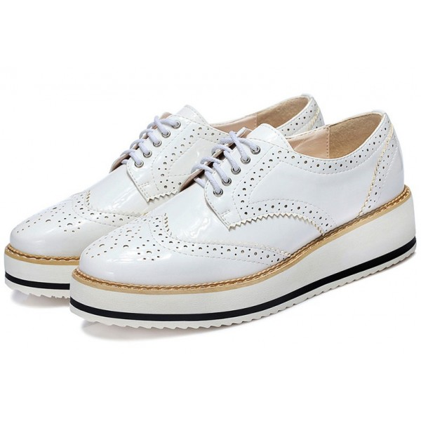 White Patent Glossy Leather Lace Up Baroque Platform Oxfords Shoes Sneakers
