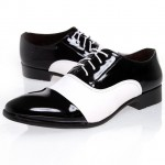 Black White Patent Pointed Head Lace Up Mens Oxfords Dress Shoes