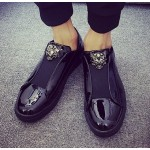 Black Patent Glossy Mirror Shiny Emblem Mens Sneakers Loafers Shoes