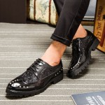 Black Leather Glitter Metal Studs Lace Up Mens Oxfords Dress Shoes