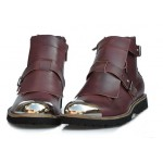 Burgundy Metal Cap Punk Rock Leather High Top Mens Oxfords Boots Shoes