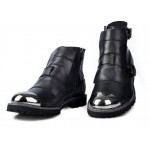 Black Metal Cap Punk Rock Leather High Top Mens Oxfords Boots Shoes