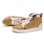 Gold Metallic Crystals Diamantes Lace Up High Top Mens Sneakers Shoes