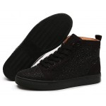 Black Crystals Diamantes Lace Up High Top Mens Sneakers Shoes