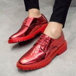 Red Metallic Patent Leather Lace Up Mens Oxfords Dress Shoes