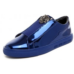 Blue Metallic Mirror Shiny Emblem Mens Sneakers Loafers Shoes
