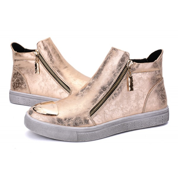 Bronze Metallic Vintage Zipper High Top Mens Sneakers Shoes
