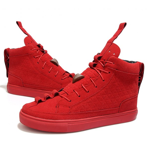 Red Suede Vintage Lace Up High Top Mens Sneakers Shoes