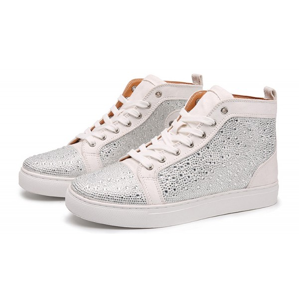 Silver Metallic Crystals Diamantes Lace Up High Top Mens Sneakers Shoes