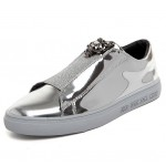 Silver Metallic Mirror Shiny Emblem Mens Sneakers Loafers Shoes