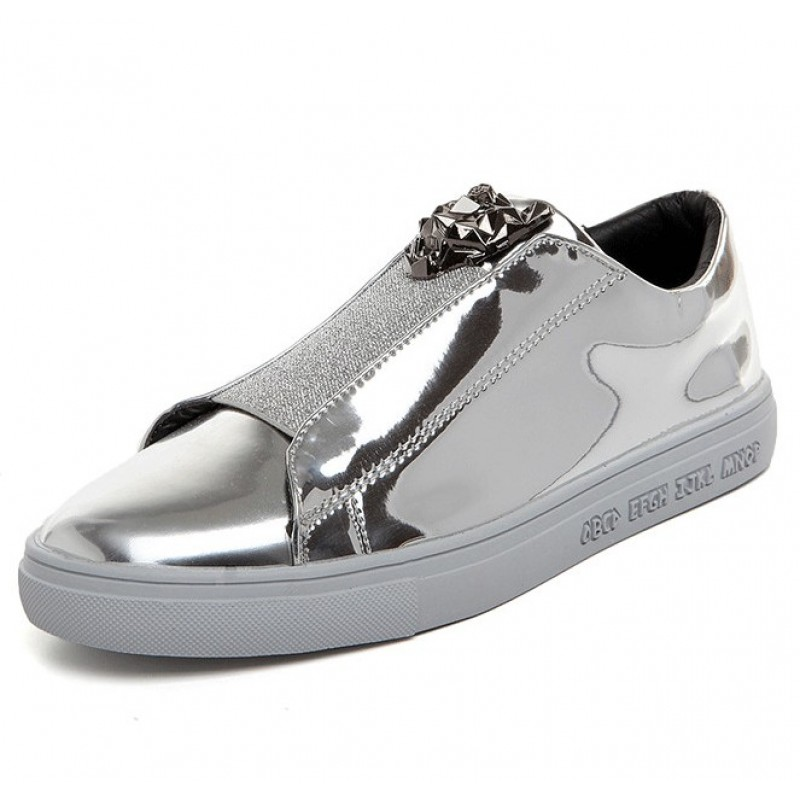 Silver Metallic Mirror Shiny Emblem Mens Sneakers Loafers ...