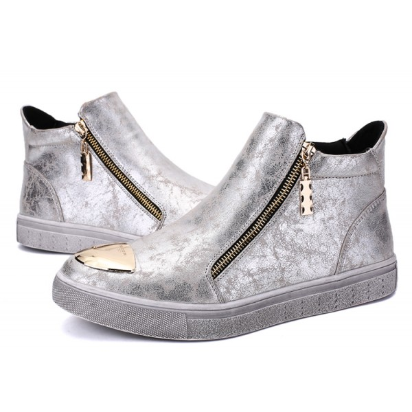 Silver Metallic Vintage Zipper High Top Mens Sneakers Shoes
