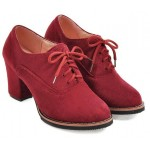 Red Suede Old School Vintage Lace Up High Heels Women Oxfords Shoes