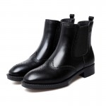 Black Vintage Leather Chelsea Ankle Boots Flats Shoes