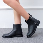 Black Leather Zipper Buckle Punk Rock Chelsea Ankle Boots Flats Shoes