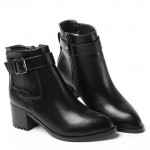 Black Leather Pointed Head Punk Rock Chelsea Ankle Boots Heels Shoes