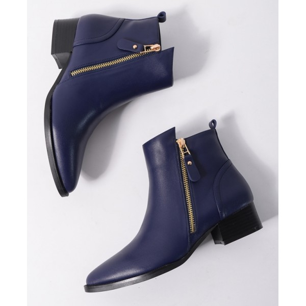 Blue Royal Pointed Head Leather Gold Zipper Chelsea Ankle Boots Flats Shoes