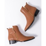 Brown Pointed Head Leather Gold Zipper Chelsea Ankle Boots Flats Shoes