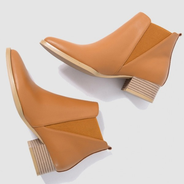 Brown Pointed Head Leather V Chelsea Ankle Boots Flats Shoes