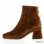 Brown Velvet Pointed Head Gold Ring Chelsea Ankle Boots Heels Shoes