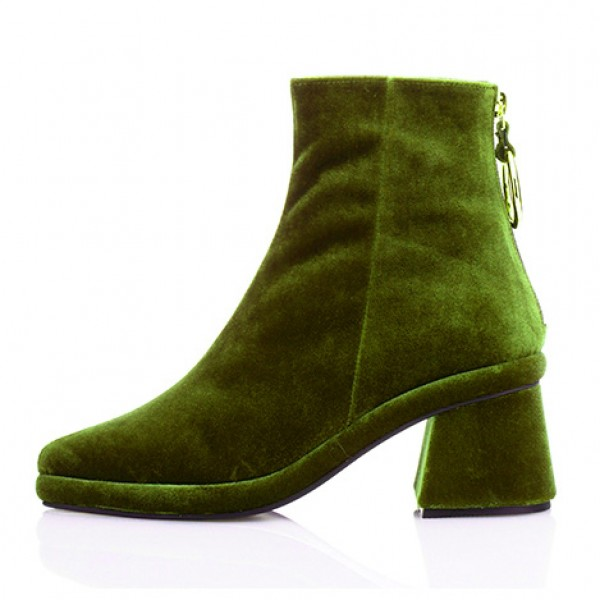 Green Olive Velvet Pointed Head Gold Ring Chelsea Ankle Boots Heels Shoes