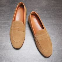 Brown Suede Mens Oxfords Flats Loafers Dappermen Dress Shoes