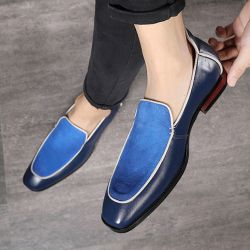 Blue Navy Suede Blunt Head Mens Dappermen Dapper Loafers Flats Shoes