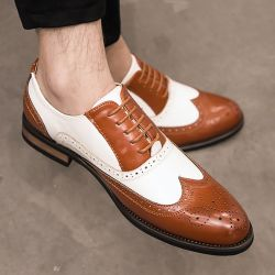 Brown White Wingtip Leather Dapper Man Lace Up Mens Oxfords Dress Shoes