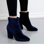 Blue Royal Velvet Suede Point Head High Heels Ankle Boots Shoes
