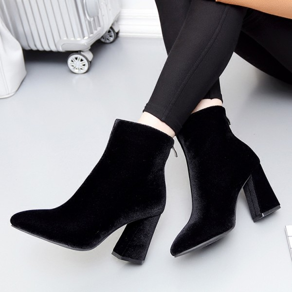 Black Velvet Suede Point Head High Heels Ankle Boots Shoes