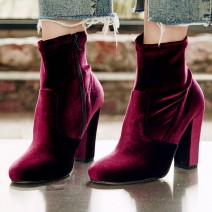 Burgundy Black Velvet Suede Round Head High Heels Ankle Boots Shoes