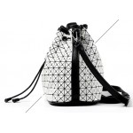 White Pink Purple Triangle Geometric Bucet Cross Body Strap Bag Handbag