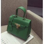 Green Gold Padlock Mini Boston Doctor Handbag Cross Body Strap Bag