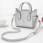 Silver Grey Embroidery Cat Face Handbag Boston Doctor Cross Body Strap Bag Purse