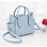 Blue Sky Embroidery Cat Face Handbag Boston Doctor Cross Body Strap Bag Purse