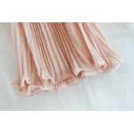 Dirty Pink Goddess Vintage Apricot Short Sleeve Lace Beaded Sexy Pleated Chiffon Dress