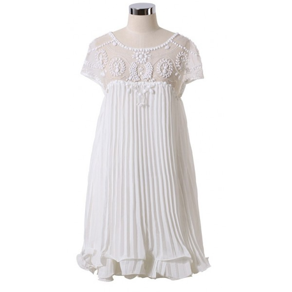 White Goddess Vintage Apricot Short Sleeve Lace Beaded Sexy Pleated Chiffon Dress