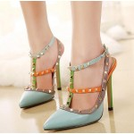 Blue Rivets Pointed Toe High Stiletto Heels Strappy Shoes