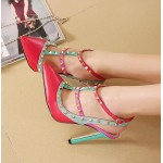 Pink Rivets Pointed Toe High Stiletto Heels Strappy Shoes