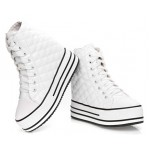 White Patent Quilted Lace Up High Top Platforms Hidden Wedges Sneakers Shoes