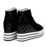 Black Patent Quilted Lace Up High Top Platforms Hidden Wedges Sneakers Shoes