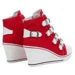 Red Canvas Buckles Straps Platforms Wedges Sneakers Shoes